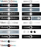 Set of music online labels Stock Images
