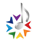 Music logo. Note is flower Stock Photography