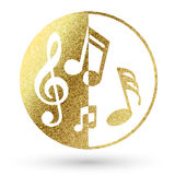 Music logo. In bright gold royalty free illustration