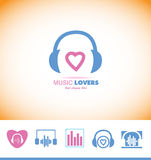 Music logo headphones love heart Stock Image