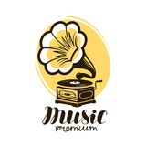 Music logo or label. Retro gramophone, phonograph symbol. Vector illustration Royalty Free Stock Images