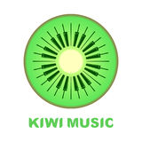 Music logo piano as kiwi fruit icon colorful Royalty Free Stock Images