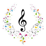 Music logo - treble clef. And notes Royalty Free Stock Photos