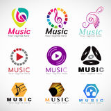 Music logo vector set design - music key sign and CD play sign and headphone sign Stock Photography