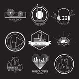 Music logos and signs. Set of vector music logos and signs. Recording studios and radio badges. Vintage emblems with sample text Royalty Free Stock Photo