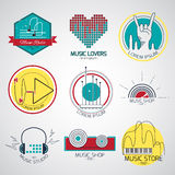 Music logos and signs. Set of vector music logos and signs. Recording studios and radio badges. Vintage emblems with simple text Stock Images