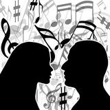 Music of love. Illustration love music with a couple in love Stock Photos