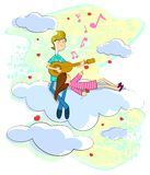 Music for Love. Love couple sitting on cloudscape playing music with guitar Royalty Free Stock Photos
