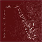 Music of love. Abstract saxophone on a red background Stock Photography