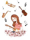 Music in love stock illustration