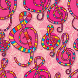 Music love note pink seamless pattern. This illustration is drawing music note enroll love in pink color background seamless pattern stock illustration