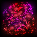 Music of love. Trumpet on an abstract background Royalty Free Stock Images