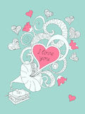 Music love you. Festive romantic card with doodle drawing gramophone, zen tangle shapes, hearts, text I love you for Valentine Day, invitation romantic holidays Stock Photo