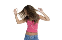 Music lover. Girl with mp3 player dancing to music Stock Image