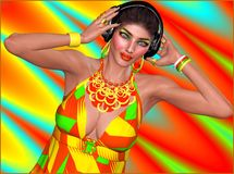 Music lover, girl with headphones. An abstract background of red, yellow,green and turquoise set the party for this music lover girl to dance wearing headphones Stock Photos
