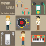 Music Lover People Flat Cartoon Stock Image