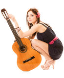 Music lover, summer girl with guitar isolated Royalty Free Stock Images
