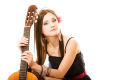 Music lover, summer girl with guitar isolated Royalty Free Stock Image