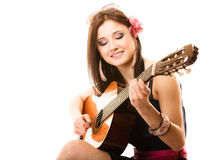 Music lover, summer girl with guitar isolated Stock Image