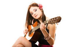 Music lover, summer girl with guitar isolated Stock Photos