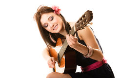 Music lover, summer girl with guitar isolated Stock Images