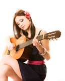 Music lover, summer girl with guitar isolated Royalty Free Stock Photos