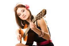 Music lover, summer girl with guitar isolated Stock Photography