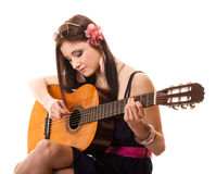 Music lover, summer girl with guitar isolated Royalty Free Stock Photography