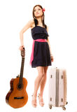 Music lover, summer girl with guitar and suitcase Stock Images