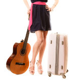 Music lover, summer girl with guitar and suitcase Royalty Free Stock Images