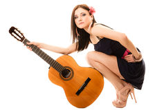 Music lover, summer girl with guitar Stock Photo
