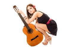 Music lover, summer girl with guitar Stock Photography