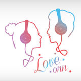 Music Lovers. Abstract colorful ,couple in love silhouette from headphone cord ,music concept background Stock Photography