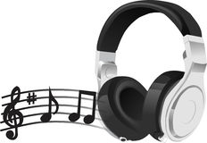Music. For music lovers. Headphone with musical notes. Beautiful composition Stock Images