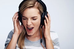 Music loving woman Royalty Free Stock Images