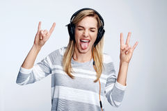 Music loving woman stock photography