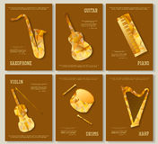 Music magazine layout flyer invitation saxophone violin piano drums guitar harp triangular design. Vector musical Stock Image