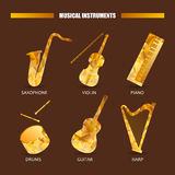 Music magazine object saxophone, drums, violin, piano, harp, guitar. Vector musical ornament illustration concept.  Stock Photography