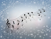 Music Magic 3D Illustration. 3D illustration of floating musical notes with sparkling background Stock Images