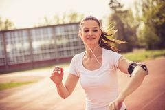 Music make good vibes for workout. On the move. Close up image Royalty Free Stock Photos