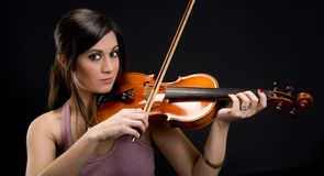 Beautiful Brunette Wman Music Maker Plays Violin Stock Image