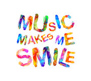 Music makes me smile. Triangular letters Stock Image