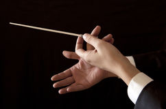 Music male director holding stick. Orchestra conductor hands baton. Music male director holding stick Royalty Free Stock Photos