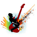 Music man. Man playing a guitar  in color Royalty Free Stock Image