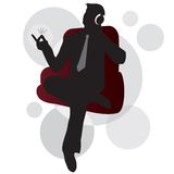 Music man. Illustration of a silhouette man listening to the music sitting and snapping his fingers Royalty Free Stock Images