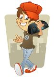 Music man character carrying boom box stock image
