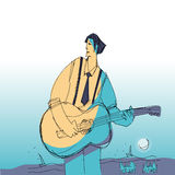 Music man with guitar Stock Images