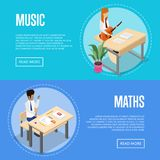 Music and maths studying at school vector illustration