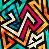 Music maze seamless pattern with grunge effect Stock Image