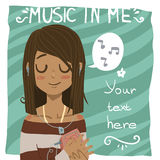 Music in me postcard. The vector illustration of young girl listening music in headphones for games presentations, ui tablets, smart phones Royalty Free Stock Photography